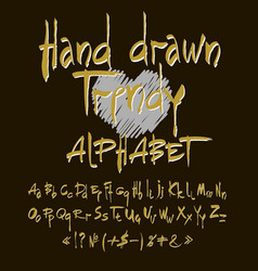 hand drawn alphabet set of calligraphic vector image vector image