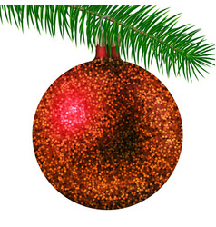 red christmas ball or bauble and fir branch vector image