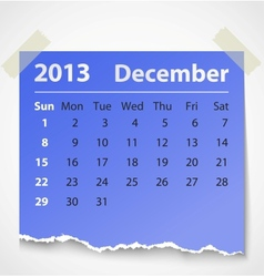2013 calendar december colorful torn paper vector image