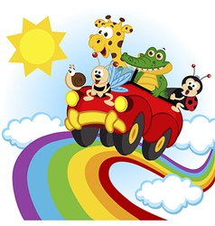 animals traveling by car over the rainbow vector image vector image
