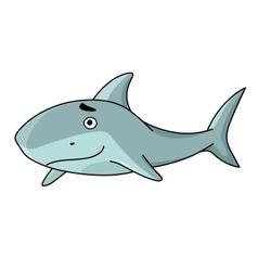 Big smiling swimming shark vector image vector image