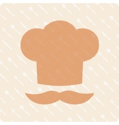 Chef hat with a mustache vector image