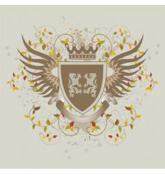 grunge vintage shield with lions vector image vector image