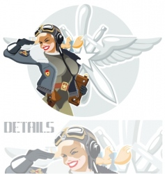 military retro pin-up vector image vector image