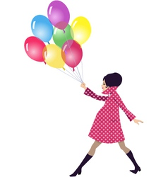 Pregnant woman walking with balloons vector image