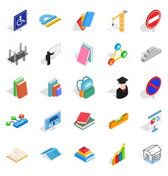 professor icons set isometric style vector image