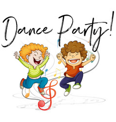 two boys dancing and words dance party vector image vector image