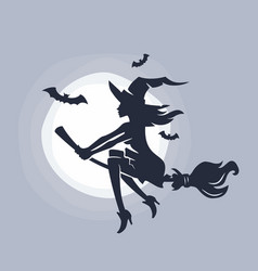 flying young witch vector image vector image