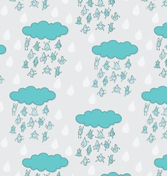 Happy funny raindrops seamless pattern vector image vector image