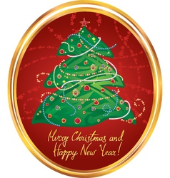 New Year greeting card in red vector image vector image