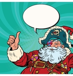 Santa Claus pirate wishes merry Christmas vector image vector image