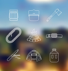 white color outline various camping icon set vector image vector image