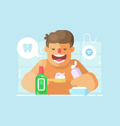 young guy brushing teeth with whitening paste vector image vector image