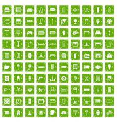 100 furnishing icons set grunge green vector