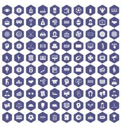 100 totalizator icons hexagon purple vector image