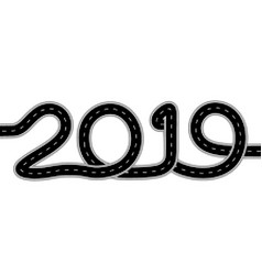 2019 new year the road is stylized offset vector