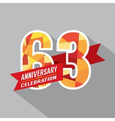 63rd Years Anniversary Celebration Design vector image