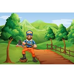A lumberjack near the road carrying an axe vector