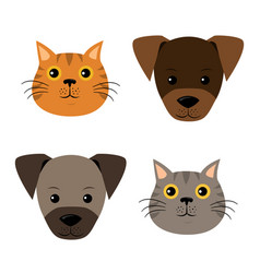 A set of dog cat faces in flat style vector