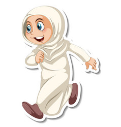 A sticker template with muslim girl in walking vector