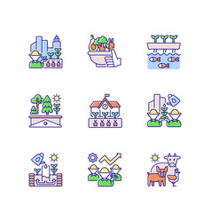 Agricultural business rgb color icons set vector