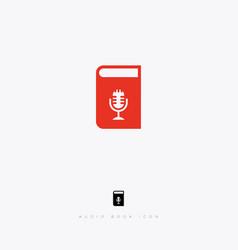 Audiobook icon digital open book microphone vector