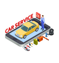 auto services mobile app isometric car service vector image