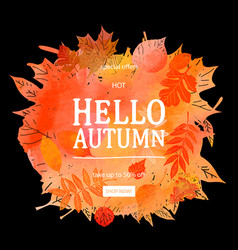autumn leaves watercolor texture vector image