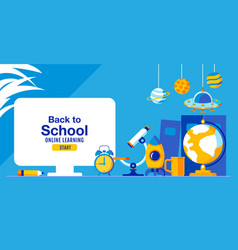 Back to school online learning child kids vector