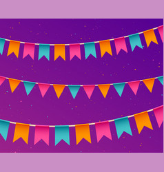 banner with garland festive background with flags vector image