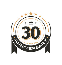 birtday vintage logo template to 30 th anniversary vector image