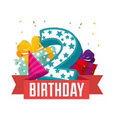 Birthday card with candle number two vector