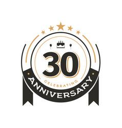 Birthday vintage logo template to 30 th anniversar vector
