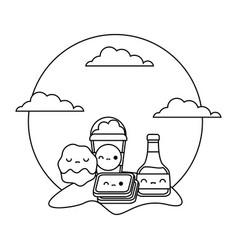 Bottle honey with set food in landscape kawaii vector
