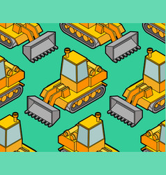 Bulldozer pattern seamless grader background vector