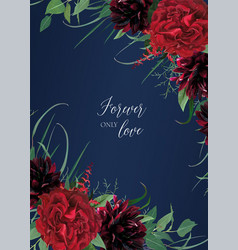 Burgundy red navy blue wedding invitation vector