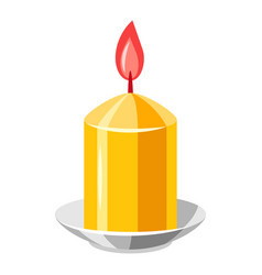 Burning yellow candle vector