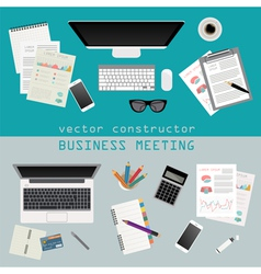 Business meeting Working place in flat design vector image