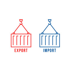 Cargo container like export and import vector