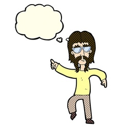 cartoon hippie man wearing glasses with thought vector image