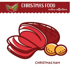 christmas ham and potato festive food and vector image