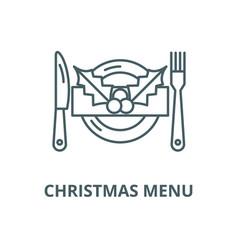 Christmas menu line icon linear concept vector