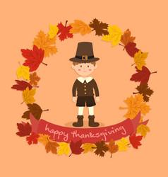 circle autumn leaf thanksgiving boy greeting card vector image