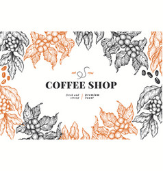 Coffee tree branch vintage coffee background vector