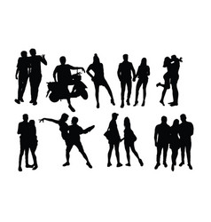 Couple people activity silhouettes vector