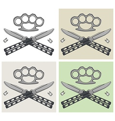 Crossed butterfly knifes emblem with different vector image