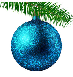 cyan christmas ball or bauble and fir branch vector image