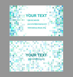 Cyan square mosaic business card template design vector image