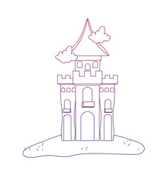 Degraded outline mystery castle with scary vector