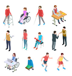 Disabled people isometric persons with injury in vector